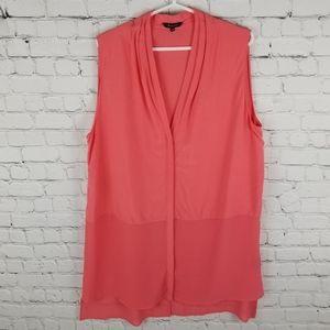 RW&Co. | sleeveless flowy button down pleat blouse